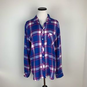 Rails Flannel Long Sleeve Button Down Top Blue